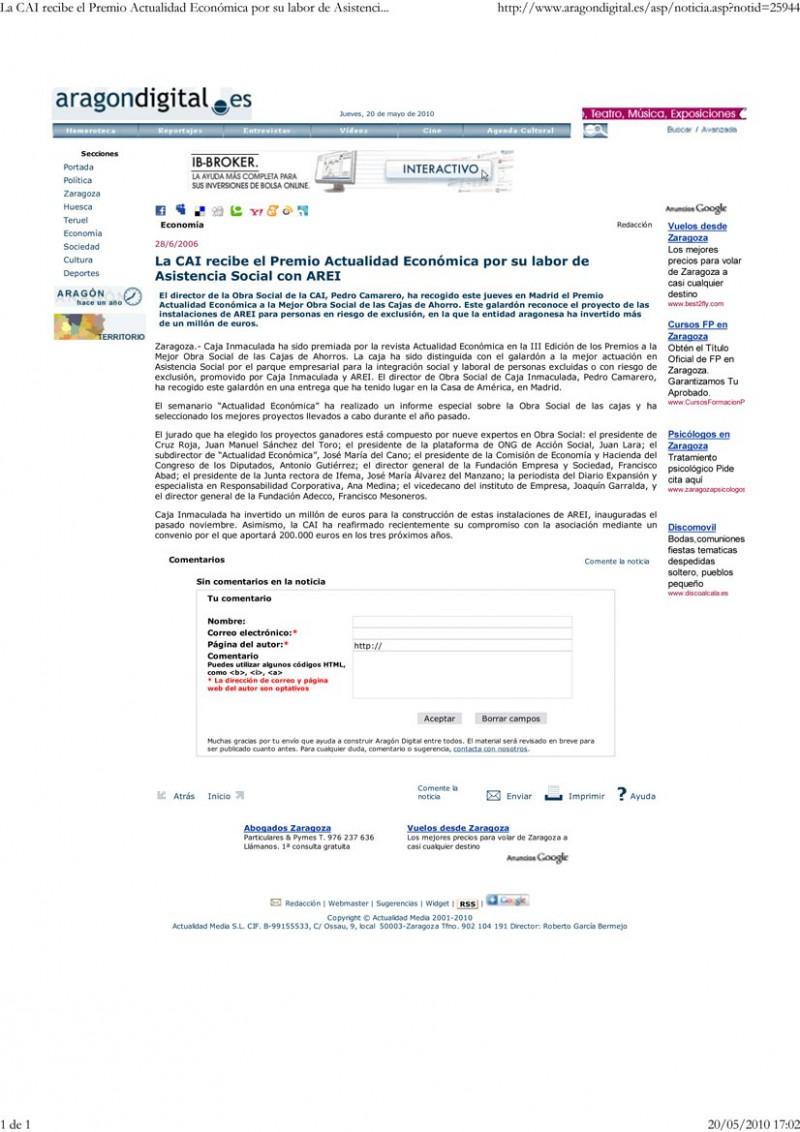 CAI-AREI _ PREMIO ACTUALIDAD ECONÓMICA